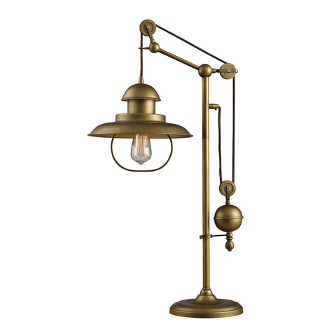 Farmhouse Table Lamp In Antique Brass With Matching Metal Shade