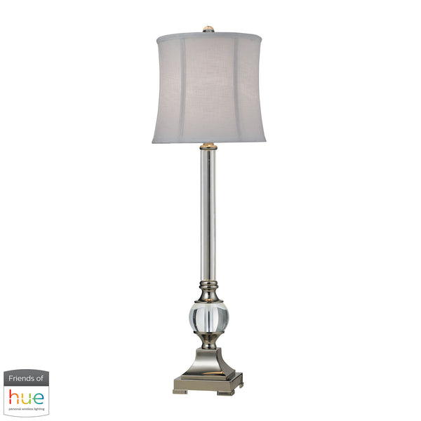 Beautiful Dimond Lighting  Corvallis Buffet Lamp in Polished Nickel and Clear Finish - with Philips Hue LED Bulb/Dimmer  in  Crystal, Metal