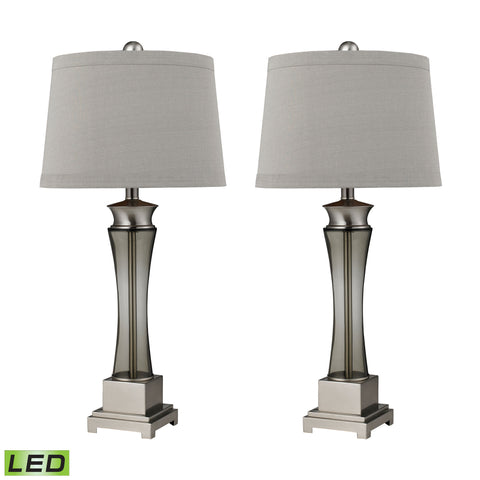 Beautiful Dimond Lighting Onassis LED Table Lamps in Nickel Finish - Set of 2