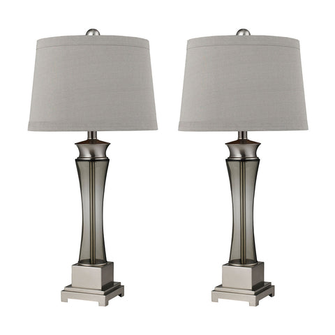 Beautiful Dimond Lighting Trump Home Onassis Table Lamps in Nickel Finish - Set of 2