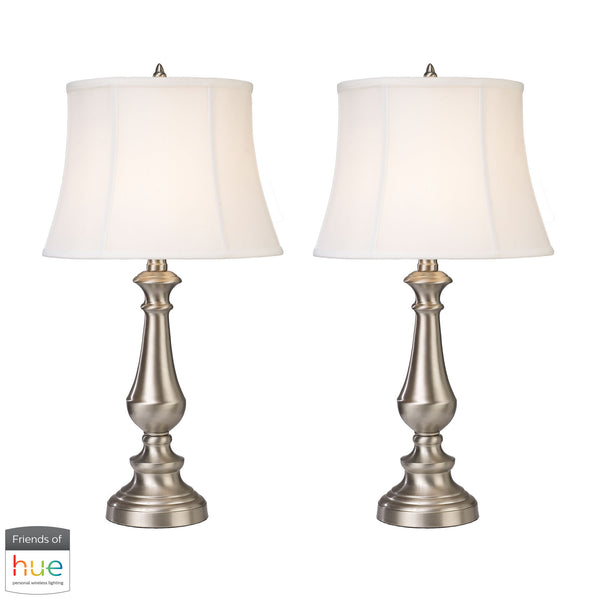 Beautiful Dimond Lighting  Trump Home Fairlawn Table Lamps in Nickel - Set of 2 - with Philips Hue LED Bulb/Dimmer  in  Metal