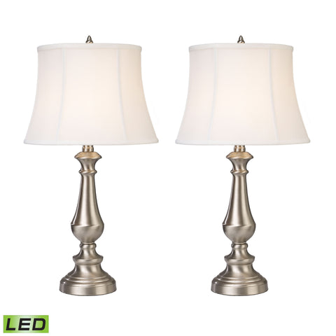 Beautiful Dimond Lighting Fairlawn LED Table Lamps in Nickel - Set of 2