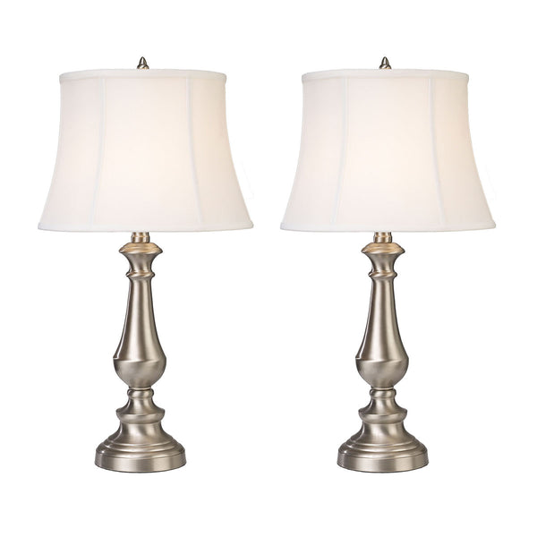 Beautiful Dimond Lighting Trump Home Fairlawn Table Lamps in Nickel - Set of 2