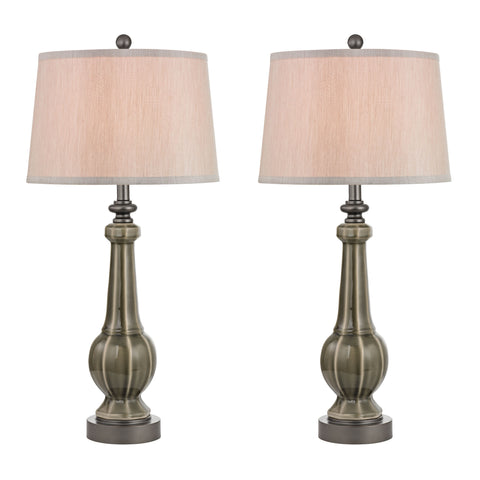 Sailsbury Table Lamps in Georgia Grey Glaze - Set of 2.
