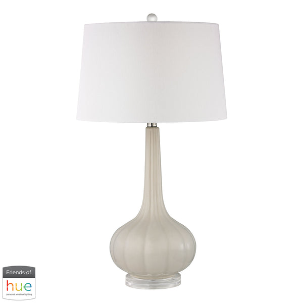 Beautiful Dimond Lighting  Abbey Lane Ceramic Table Lamp in Off White - with Philips Hue LED Bulb/Bridge  in  Ceramic, Acrylic