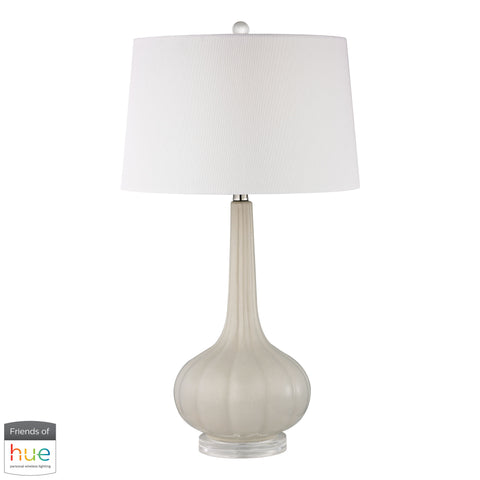Beautiful Dimond Lighting  Abbey Lane Ceramic Table Lamp in Off White - with Philips Hue LED Bulb/Dimmer  in  Ceramic, Acrylic