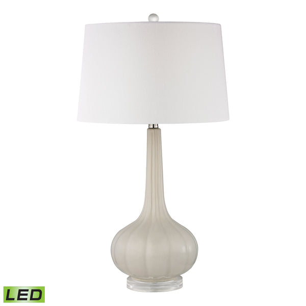 Beautiful Dimond Lighting  Abbey Lane Ceramic LED Table Lamp in Off White  in  Acrylic, Ceramic