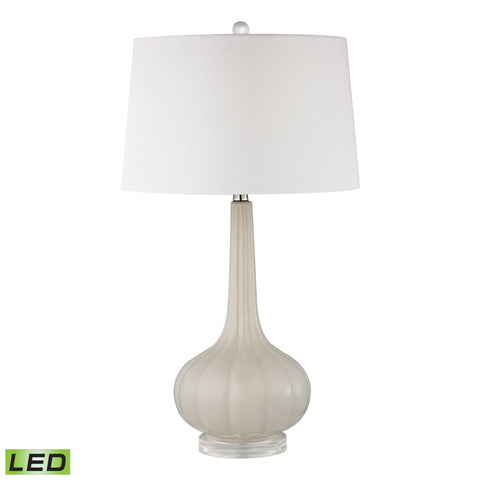 Beautiful Dimond Lighting Abbey Lane Ceramic LED Table Lamp in Off White