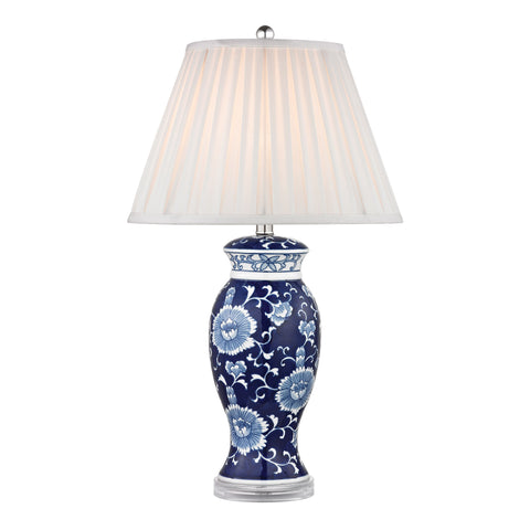 Beautiful Dimond Lighting Hand Painted Ceramic Table Lamp In Blue And White With Acrylic Base