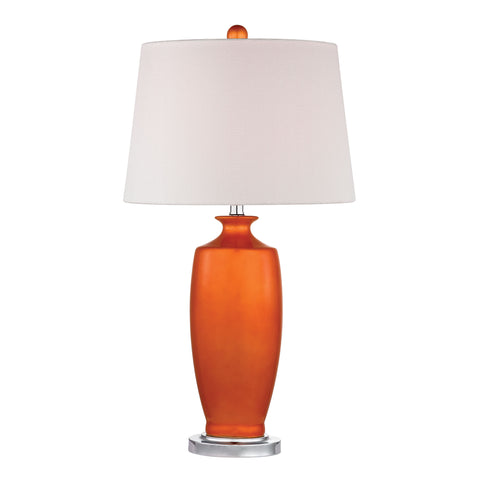 Beautiful Dimond Lighting  TANGERINE ORANGE CERAMIC TABLE LAMP WITH WHITE SHADE  in  Ceramic, Metal