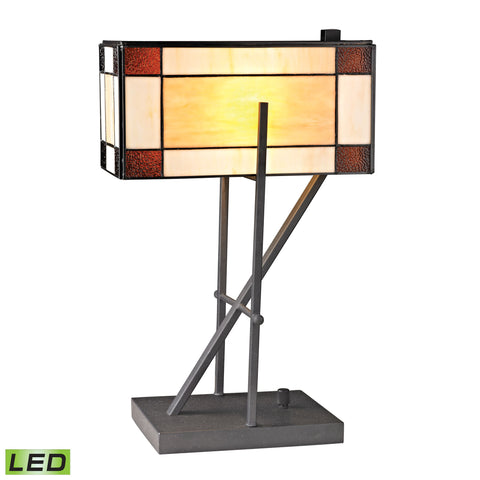 Beautiful Dimond Lighting  Fort William Tiffany Glass LED Table Lamp in Matte Black  in  Glass, Metal