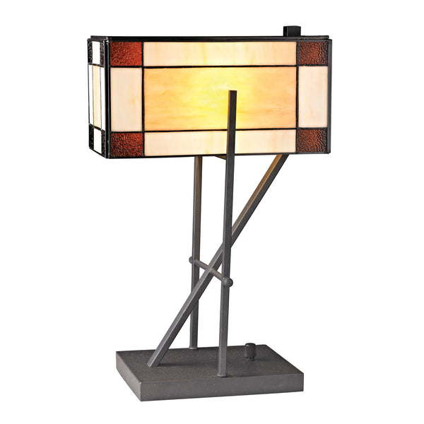 Beautiful Dimond Lighting Fort William Tiffany Glass Table Lamp in Matte Black