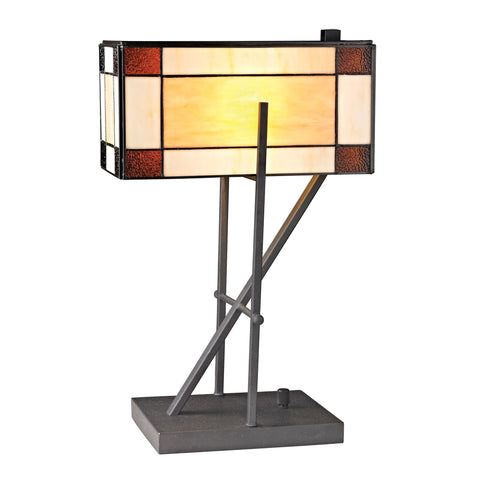 Beautiful Dimond Lighting  ANGULAR TIFFANY GLASS TABLE LAMP WITH ENCLOSED SHADE  in  Glass, Metal