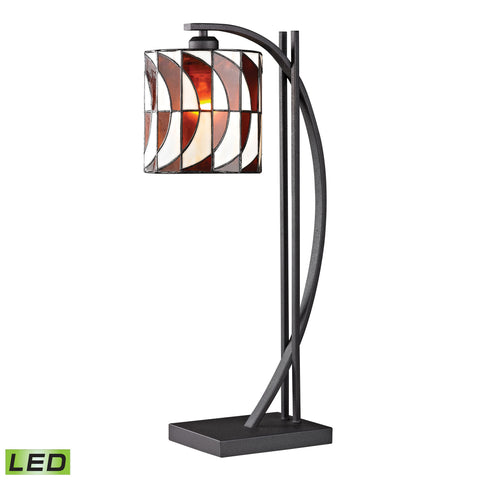 Eastbourne Tiffany Glass LED Table Lamp in Matte Black.