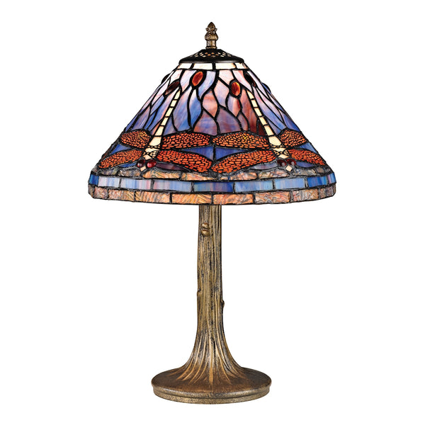 Beautiful Dimond Lighting Dragonfly Tiffany Glass Table Lamp