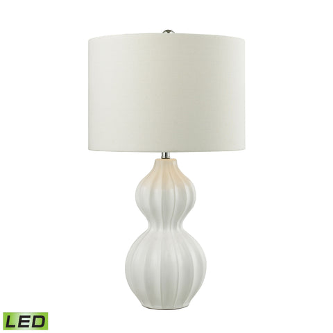Beautiful Dimond Lighting  Ribbed Gourd LED Table Lamp in Gloss White Ceramic  in  Ceramic