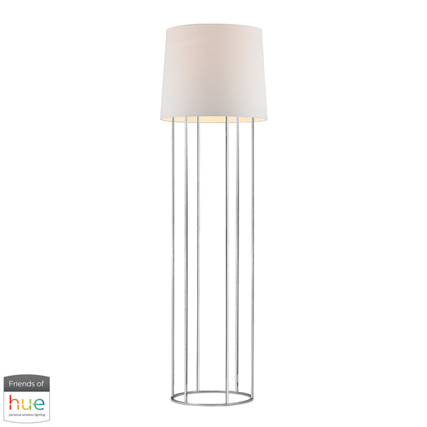Beautiful Dimond Lighting  Barrel Frame Floor Lamp in Polished Nickel - with Philips Hue LED Bulb/Bridge  in  Metal
