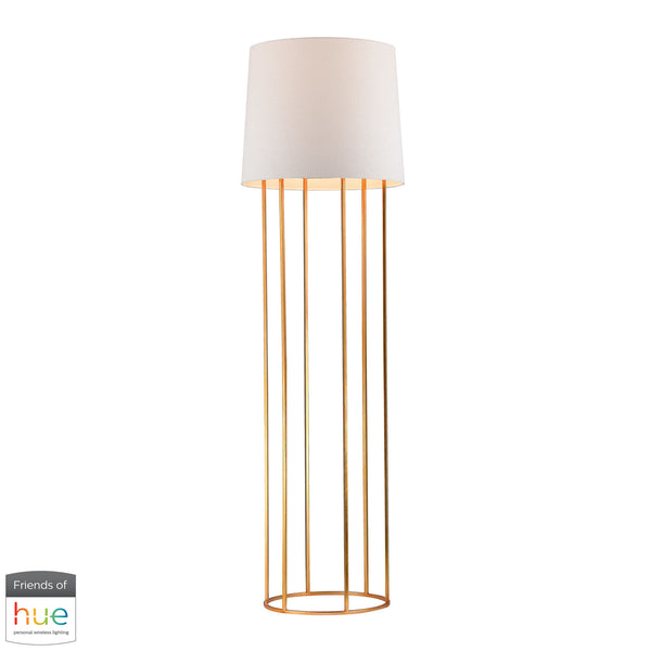 Beautiful Dimond Lighting  Barrel Frame Floor Lamp in Gold Leaf Finish - with Philips Hue LED Bulb/Dimmer  in  Metal