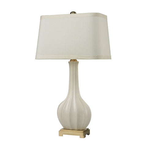 Beautiful Dimond Lighting  (White) Fluted Ceramic Vase Table Lamp  in  Ceramic, Metal