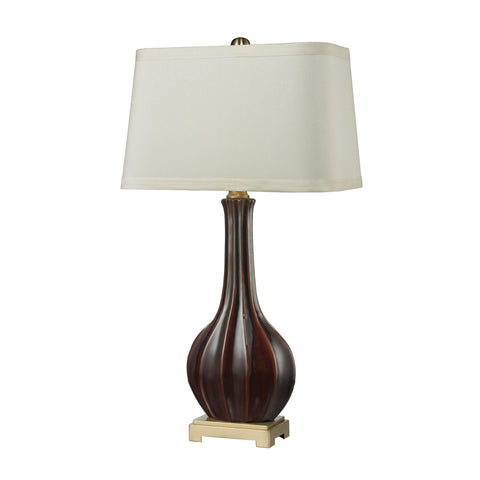 Beautiful Dimond Lighting  (Red) Fluted Ceramic Vase Table Lamp  in  Ceramic, Metal