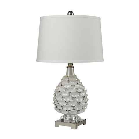Beautiful Dimond Lighting  (Pearlescent White) Hand Formed Ceramic Foliage Table Lamp  in  Ceramic, Metal