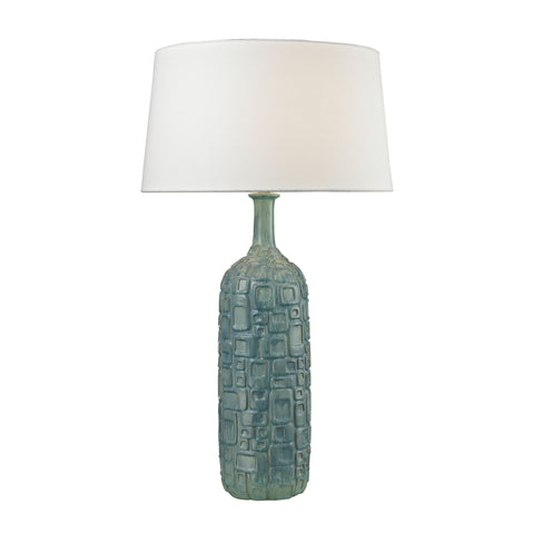 Beautiful Dimond Lighting  (Blue) Cubist Ceramic Bottle Table Lamp  in  Ceramic