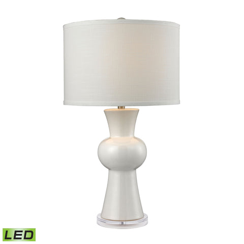 Beautiful Dimond Lighting White Ceramic LED Table Lamp With Textured White Linen Hardback Shade