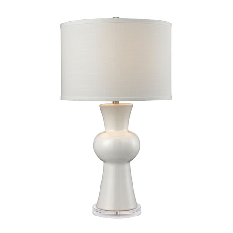 Beautiful Dimond Lighting White Ceramic Table Lamp With Textured White Linen Hardback Shade