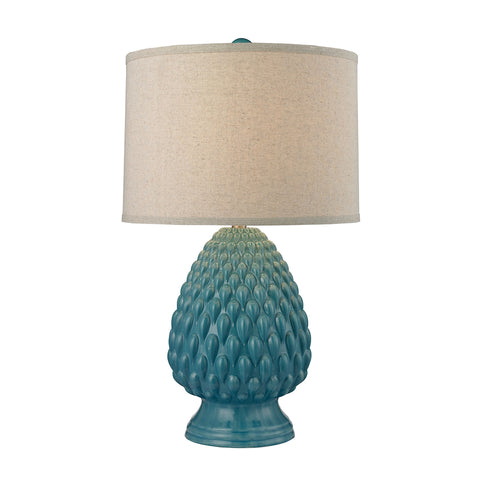 Beautiful Acorn Ceramic Table Lamp in Deep Seafoam Glazed Ceramic for your Indoor Lighting.