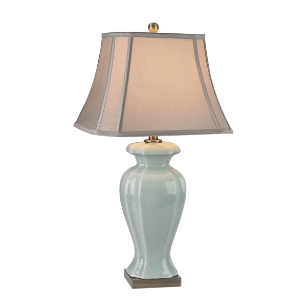 Beautiful Dimond Lighting Celadon Table Lamp in Glazed Green Ceramic With Antique Brass Accents
