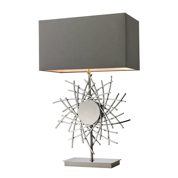 Beautiful Dimond Lighting  ABSTRACT FORMED METAL WORK TABLE LAMP IN POLISHED NICKEL  in  Metal