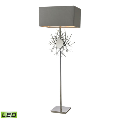 Beautiful Cesano Abstract Formed Metalwork LED Floor Lamp in Polished Nickel for your Indoor Lighting.