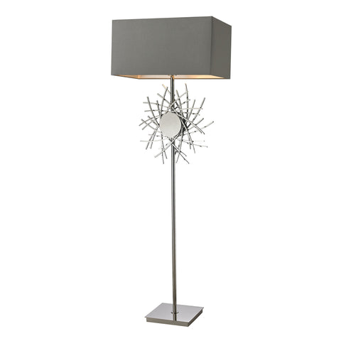 Beautiful Cesano Abstract Formed Metalwork Floor Lamp in Polished Nickel for your Indoor Lighting.