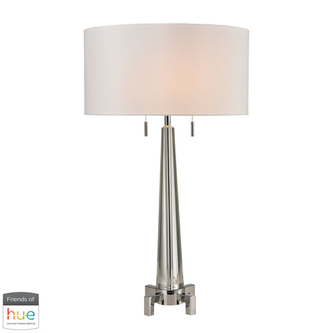 Beautiful Dimond Lighting  Bedford Solid Crystal Table Lamp in Polished Chrome - with Philips Hue LED Bulb/Bridge  in  Crystal, Metal