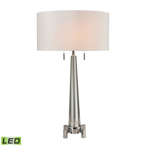Beautiful Bedford Solid Crystal LED Table Lamp in Polished Chrome for your Indoor Lighting.