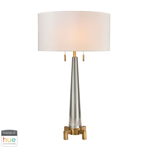 Beautiful Dimond Lighting  Bedford Solid Crystal Table Lamp in Aged Brass - with Philips Hue LED Bulb/Bridge  in  Crystal, Metal