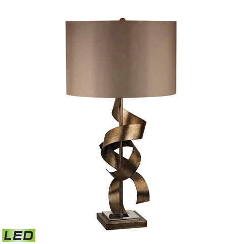 Beautiful Allen Metal Sculpture LED Table Lamp in Roxford Gold for your Indoor Lighting.
