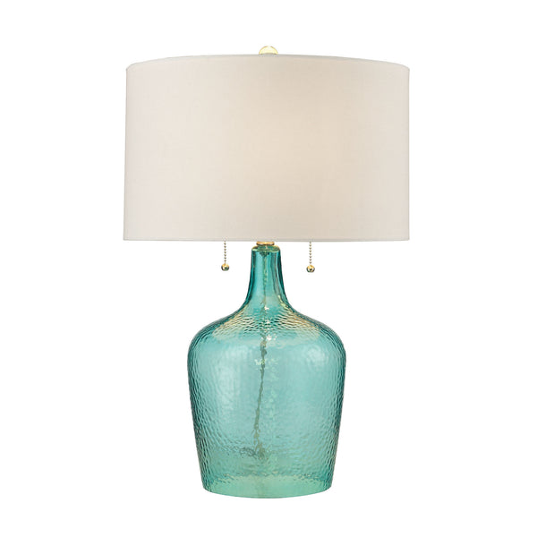 Beautiful Dimond Lighting Hatteras Hammered Glass Table Lamp in Seabreeze