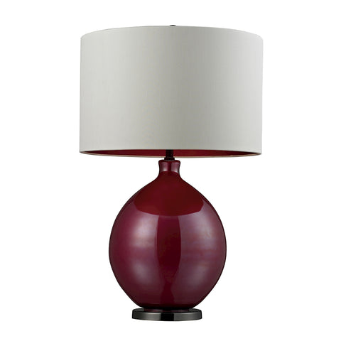 Beautiful Blown Glass Table Lamp in Cerise Pink and Black Nickel for your Indoor Lighting.