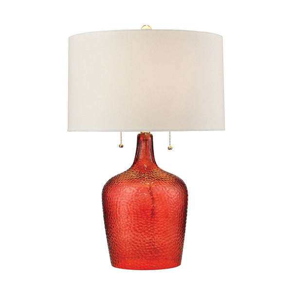 Beautiful Dimond Lighting Hatteras Hammered Glass Table Lamp in Blood Orange