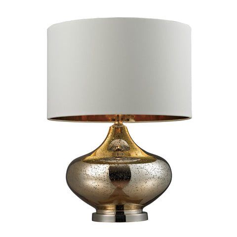 Beautiful Dimond Lighting Blown Glass Table Lamp in Gold Antique Mercury Glass And Polished Nickel