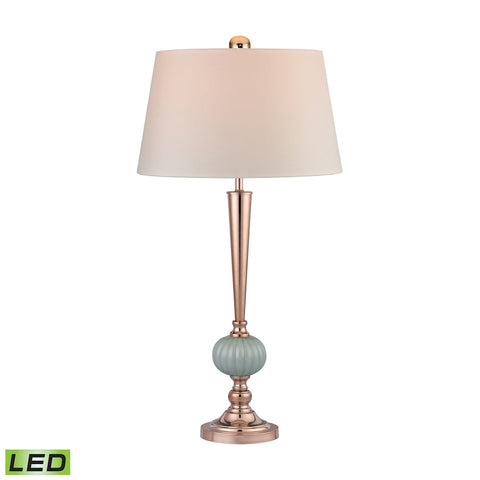 Beautiful Dimond Lighting Mint Ribbed LED Buffet Lamp With Gold Accents