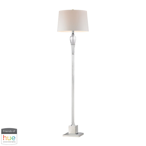 Beautiful Dimond Lighting  Crystal Column Floor Lamp with Chrome Orb - with Philips Hue LED Bulb/Dimmer  in  Crystal, Metal