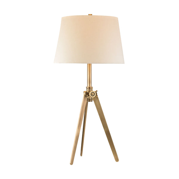Beautiful Dimond Lighting Brass Pointed Tripod Lamp In Antique Brass