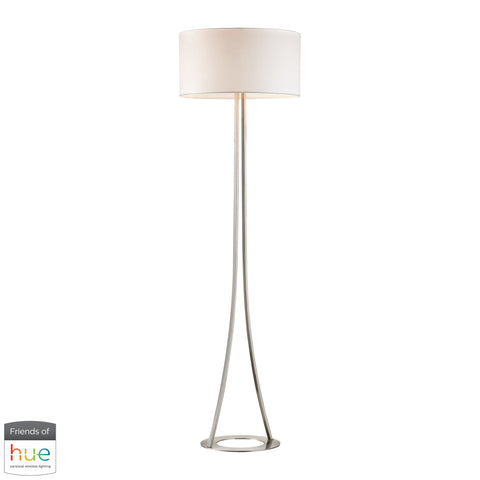 Beautiful Dimond Lighting  Alder 2-Light Floor Lamp in Brushed Nickel - with Philips Hue LED Bulb/Dimmer  in  Metal