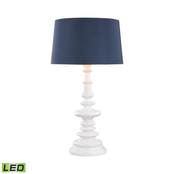Beautiful Dimond Lighting Corsage Outdoor LED Table Lamp With Navy Blue Shade
