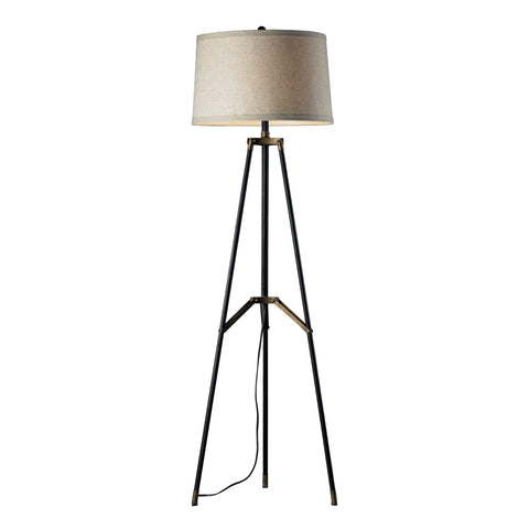 Beautiful Dimond Lighting  Functional Tripod Floor Lamp in Restoration Black And Aged Gold  in  Metal