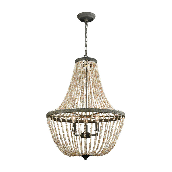 Beautiful Dimond Lighting  Cote des Basques Pearl Chandelier  in  Natural Shell, Metal