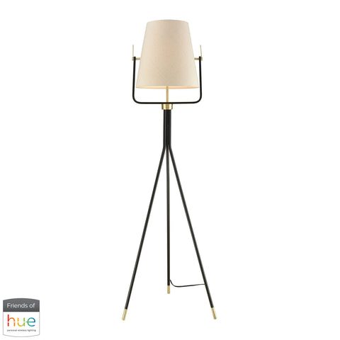 Beautiful Dimond Lighting  Cromwell Floor Lamp - with Philips Hue LED Bulb/Bridge  in  Faux Silk, Metal