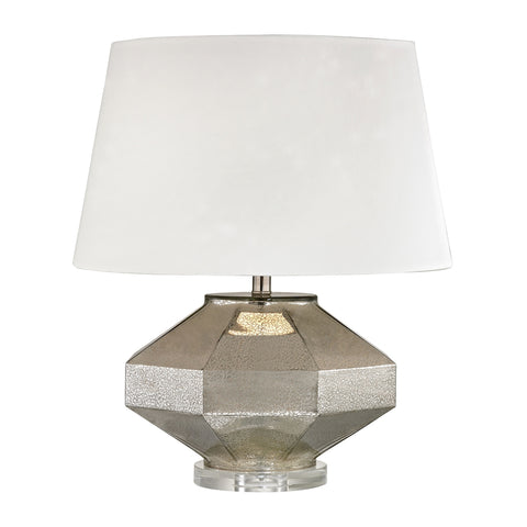 Angular Blown Glass Table Lamp in Silver